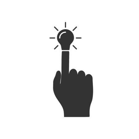 Light bulb, symbol of ideas, as continuation of index finger hands. Isolated on white background. Flat design.   Иллюстрация