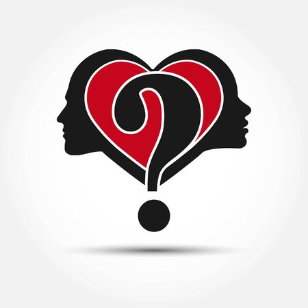 Multi-purpose concept on the theme of relationships between men and women. The profile of a male and a female head with a heart and question mark, flat design