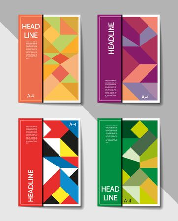 Set of editable layouts for A4 cover with abstract geometric pattern for brochure, magazines, flyer, booklet, annual report. Abstract background.