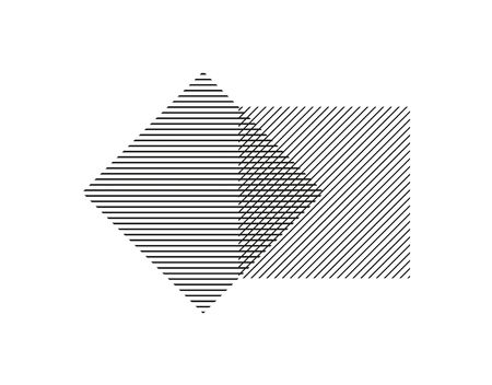 Two squares of parallel lines intersect each other. Geometric shape for business design, decoration and decoration isolated on white background.