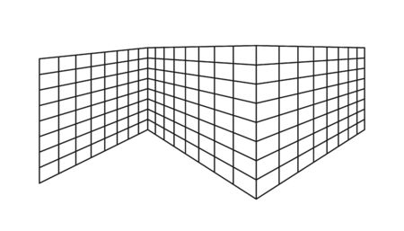 Empty outline rectangle divided into cells, going into perspective, isolated on a white background. Flat design.