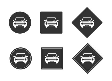 Set of car icons on a black circle and square. Template for design and decoration. Flat design. Isolated on a white background.