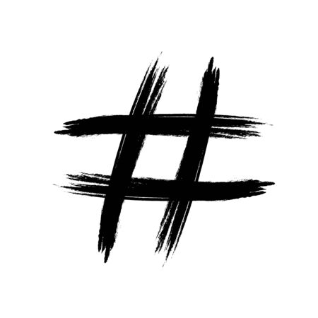 Hashtag symbol is Drawn with a brush with black paint. Template for design and decoration. Flat design.
