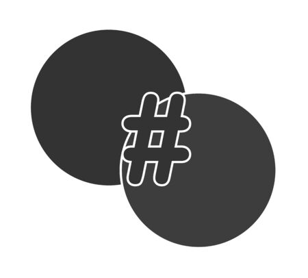 Hashtag symbol at the intersection of two circles. Template for design and decoration. Flat design.