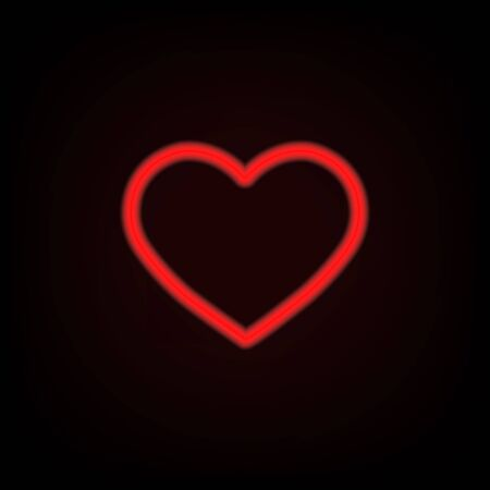 Red neon heart on black background. Illustration for design and decoration. Иллюстрация