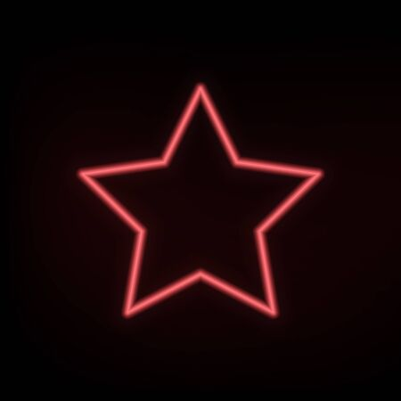 Red neon star on black background. Illustration for design and decoration