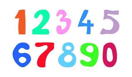 Zestaw liczb kolor izolowany na białym tle. Płaska konstrukcja Ilustracje wektorowe