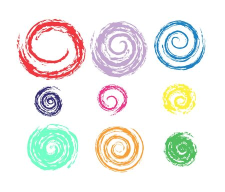 Editable set of spiral circles for design and decoration. Flat style isolated on white background.