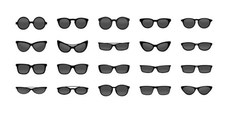 set of sunglasses for design and decoration. Isolated on a white background.