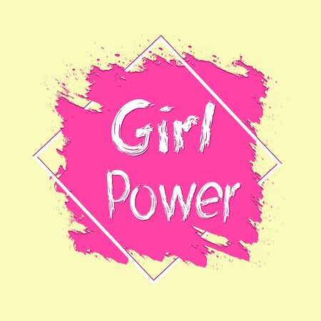 Phrase girl power for banner, poster or t-shirt. The third wave of feminism. Isolated on a white background.