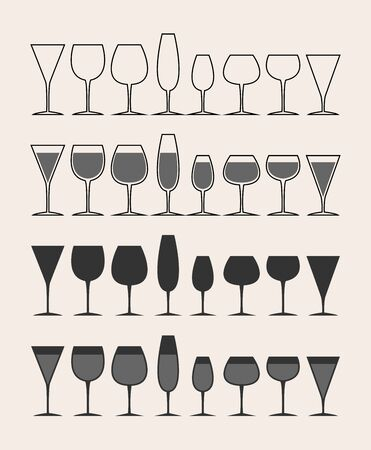set of wine glasses and glasses. Empty and filled outline. Isolated on a gray background.