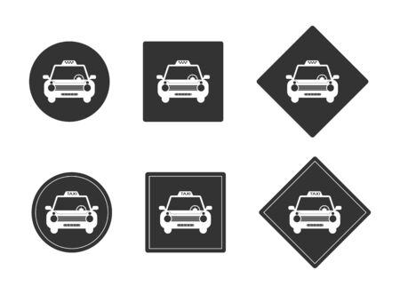 TAXI car icons set on black circle and square. Template for design and decoration. Flat design. Isolated on a white background. Иллюстрация