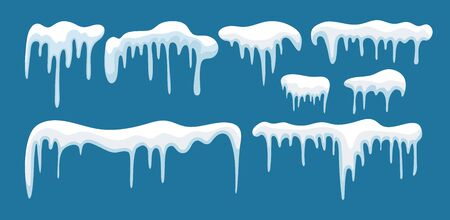 Set of snow icicles. Flat design isolated on blue background. Cartoon winter style, design and decoration. Иллюстрация