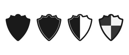 Heraldic vintage shield icon set. Flat style isolated on white background.