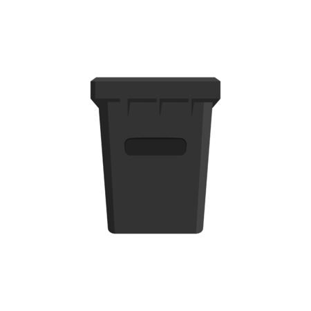 Trash and waste container icon. Isolated on white background in flat design style.