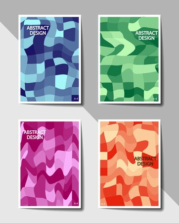 Set of covers with flat color geometric pattern of deformed squares. Format A-4. Casual modern colors. Colorful background for flyers, posters, banners or billboards and booklets