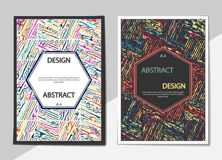 Set of covers with a flat pattern of wavy lines. Format A-4. Casual modern colors. Colorful background for flyers, posters, banners or billboards and booklets