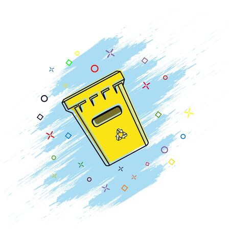 icon of the trash. Comic book style icon with splash effect. flat style. Isolated on white background.