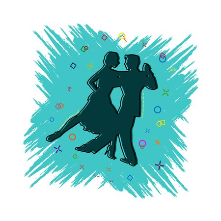 Pair dancing icon. Comic book style icon with splash effect. flat style. Isolated on white background.