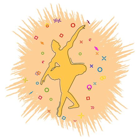 Ballerina icon. Comic book style icon with splash effect. flat style. Isolated on white background. Illustration