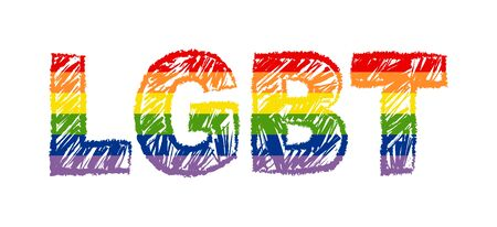 LGBT inscription in the colors of the flag of sexual minorities.. The emblem of homosexuality. The concept of rights. 일러스트