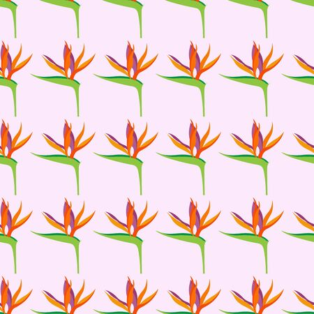 Seamless pattern with Strelitzia reginae flowers, for textiles, packaging, backgrounds, embossing and texture. Bright modern colors.