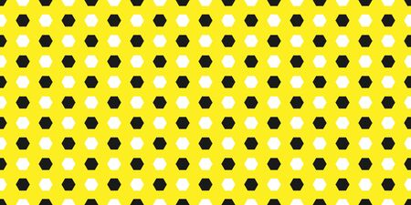 Seamless geometric pattern of parallel and consecutive hexagons in white and black on a yellow background.