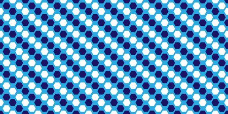 Seamless pattern in blue shades of parallel and consecutive hexagons.  Ilustração