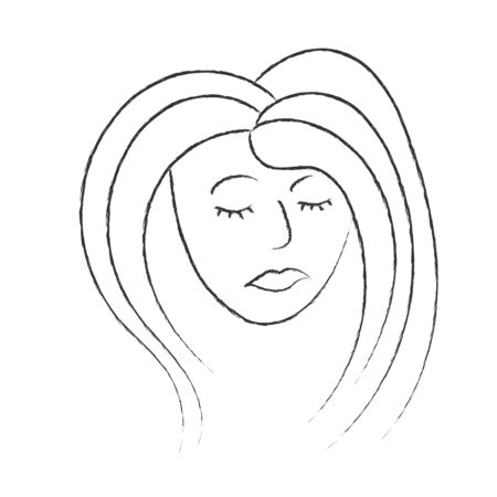 womans face with closed eyes. The Style Of Doodle. Isolated on a white background. The concept of feminism.Black and white vector illustration for design, poster, poster.