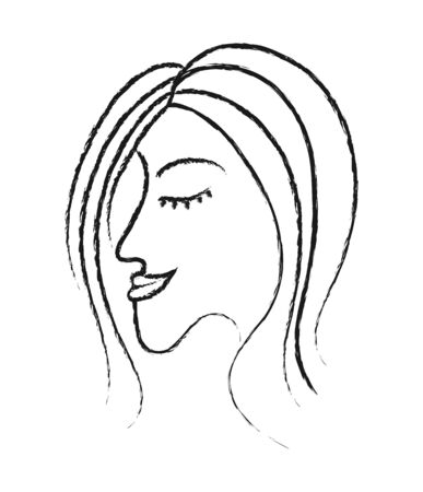 beautiful profile of a womans face with closed eyes. The Style Of Doodle. Isolated on a white background. The concept of feminism or womens day. Black and white vector illustration for design, poster, poster.  Ilustracja