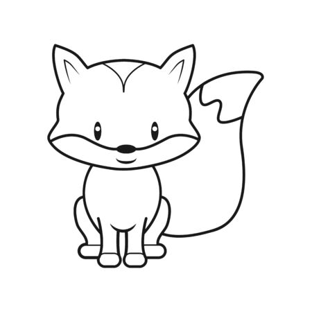 empty outline of a cute childish cartoon fox. Isolated contour for coloring. Stock vector illustration isolated on white background for coloring book. Doodle style