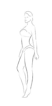 Pencil vector sketch of a female figure. Empty outline. Flat Doodle style. Isolated on a white background for wide application-logo, banner, poster or fashion magazine and other options.