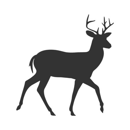 Contour silhouette of a deer. Isolated on a white background. Flat design for postcards, scrapbooking and decoration.