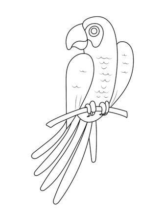 Empty outline of a parrot bird on a branch. Isolated on a white background. Flat design for postcards, scrapbooking, coloring books and decoration. Vettoriali