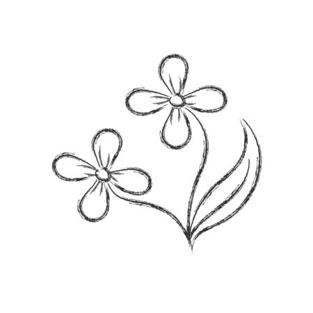 Vector pencil drawing of a flower in the style of Doodle for postcards, posters stickers and seasonal design. Isolated on a white background.