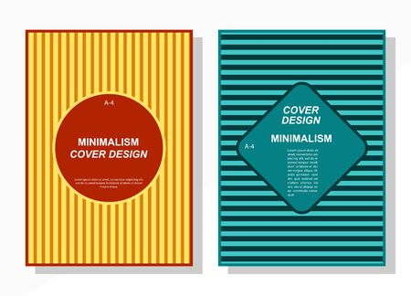 Geometric cover design templates A-4 format. Editable set of layouts for covers of books, magazines, notebooks, albums, booklets. Flat design, modern colors. Ilustração
