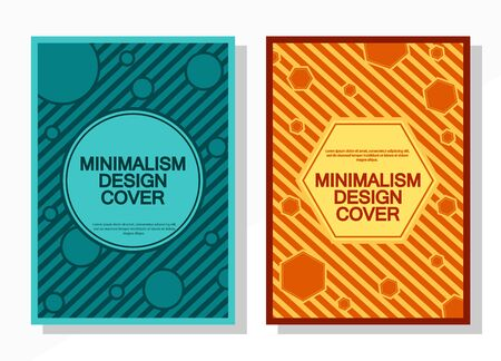 Geometric cover design templates A-4 format. Editable set of layouts for covers of books, magazines, notebooks, albums, booklets. Flat design, modern colors. Vectores