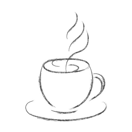 Vector pencil drawing of a Cup of hot coffee or tea. Isolated on white background for cafe theme design, menu. Vectores