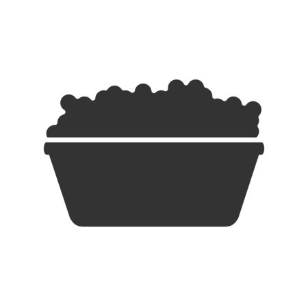 Vector icon of a basin with soapy water and foam. Vector silhouette isolated on a white background. Flat style
