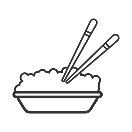 Vector icon of a bowl with grain food and chopsticks. An empty outline is isolated on a white background. Flat style