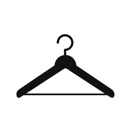 Vector hanger icon. The flat silhouette is isolated on a white background for websites, apps, and themed fashion and clothing design.