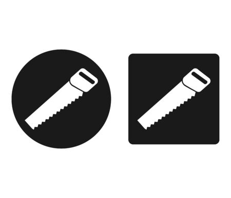 Icons set of a handsaw. Hand tools. Simple flat design