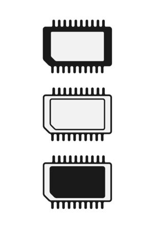 Set of simple icons of microchips or processors. Filled silhouette. Radio electronic element. Flat design.