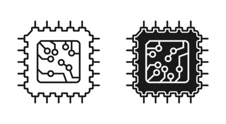Chip icon. Chip of an electronic device. Empty and filled contour. Simple flat design
