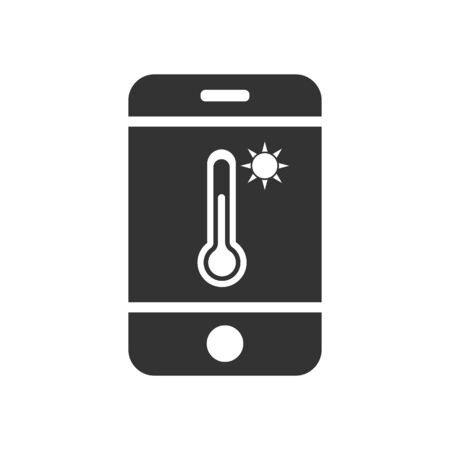 Vector mobile phone icon with temperature sensor and sun icon. Simple flat design for apps and websites.