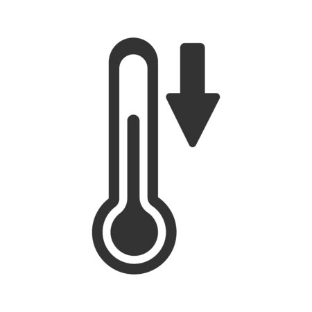 Vector icon of a thermometer with a down arrow. Temperature decrease. Temperature sensor. Simple flat design for apps and websites.