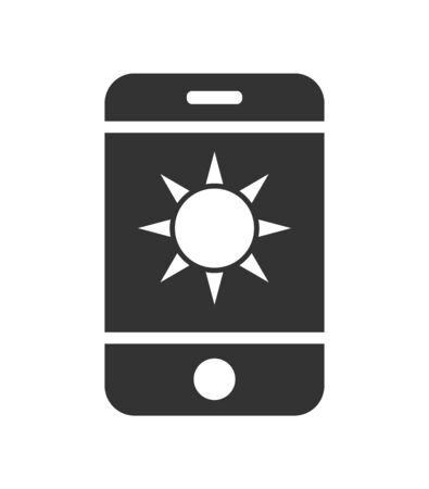 Vector mobile phone icon with the sun icon. Simple flat design for apps and websites.