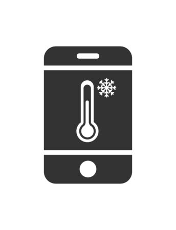 Vector icon mobile phone with the temperature sensor and the icon to a snowflake. Simple flat design for apps and websites.