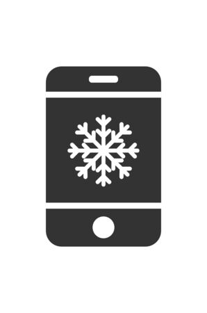 Vector mobile phone icon with snowflake icon. Simple flat design for apps and websites. 向量圖像