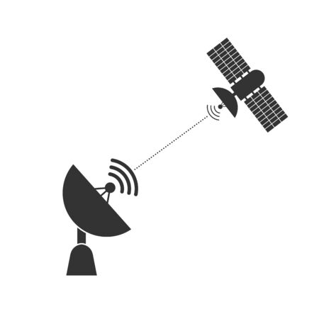 satellite dish communicates with a signal from a space satellite. Simple flat design.